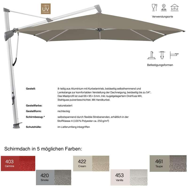 GLATZ Ampelschirm SOMBRANO® S+ rechteckig 400 x 300 in 5 Farben Sonnenschirm Stoffklasse 4