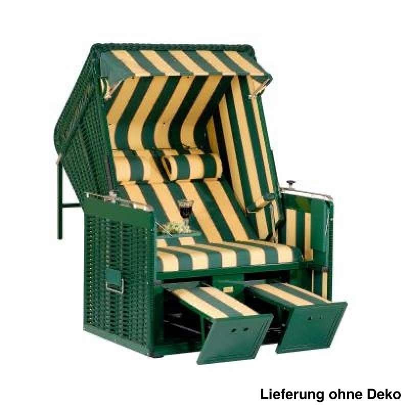 Sonnenpartner Strandkorb Präsident Alu 2 Sitzer Liegemodell grün gelb