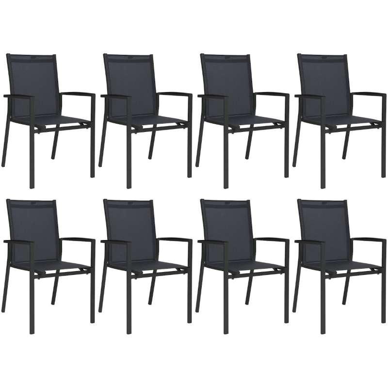 Stern 8er-Set Stapelsessel New Levanto Aluminium anthrazit/Textilen karbon Gartenstuhl Stapelstuhl