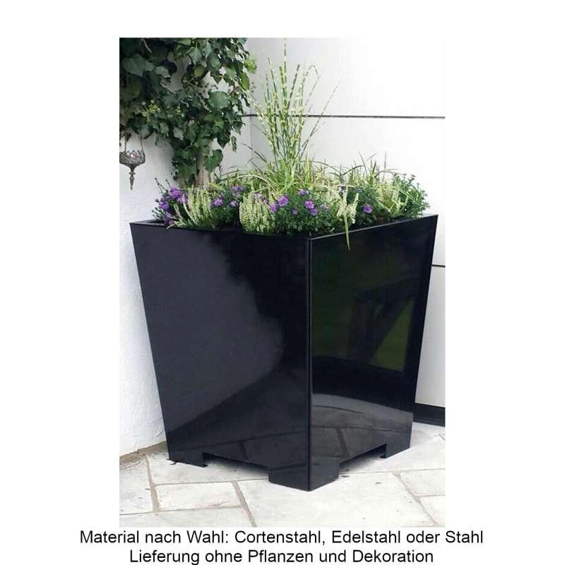 Mecondo Pflanzgefäß CONA konisch 45x45x55 cm Corten/Edelstahl/Stahl Blumenkübel