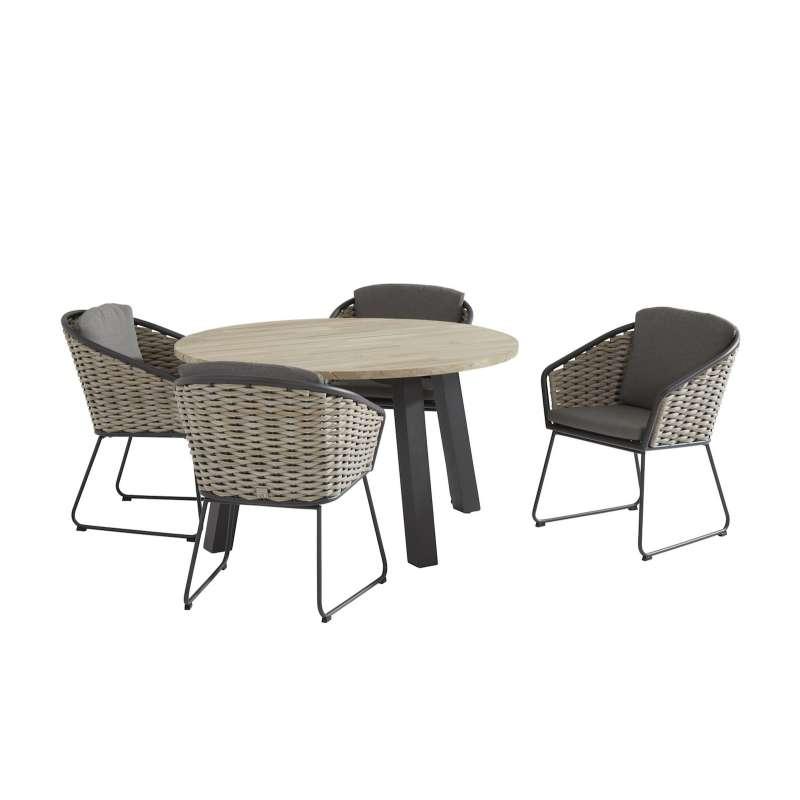 Aqua-Saar Coconut Dream Dining 5-teilige Sitzgruppe Tisch ø 130 cm Teakholz Komplettset