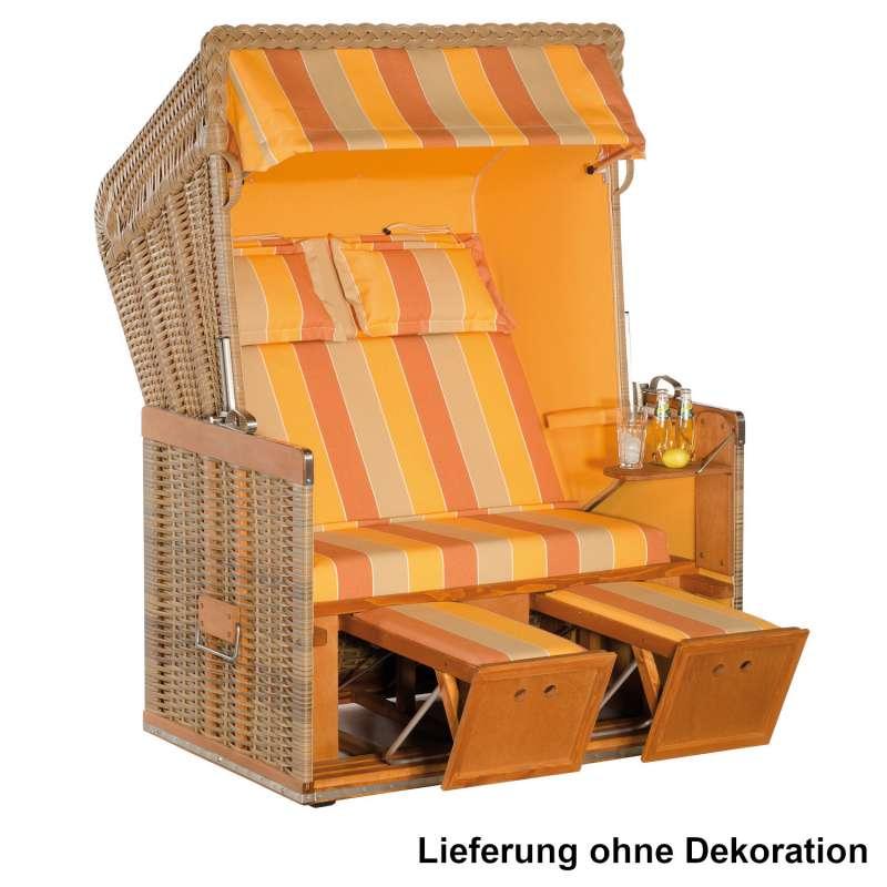 Sonnenpartner Strandkorb Konsul 2-Sitzer Halbliegemodell natur/mandarin mit Sonderausstattung