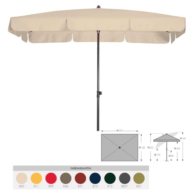 Doppler Sunline Waterproof 225 x 120 cm Sonnenschirm 9 Farbvarianten Sonnenschutz