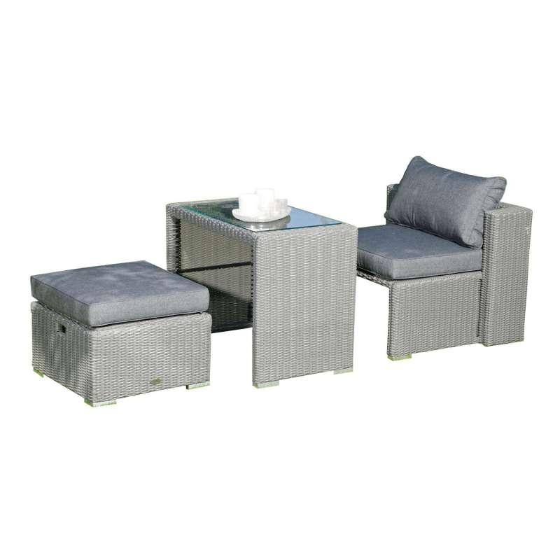 Sonnenpartner SunnySmart 3-teilige Balkon-Sitzgruppe Cool Aluminium mit Polyrattan rustic-vintage Ba