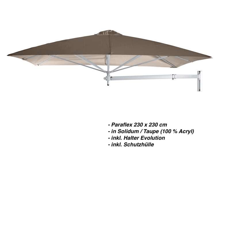 Umbrosa Paraflex 230 x 230 cm Sonnenschirm Solidum Taupe SET Wandschirm inkl. Halterung