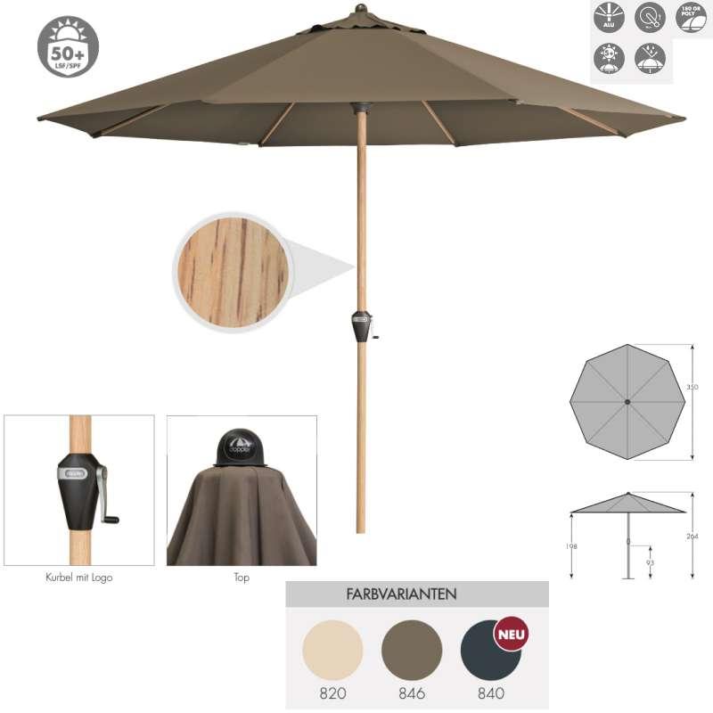Doppler Alu Wood ø 350 cm Marktschirm Holzoptik Sonnenschirm rund 3 Farben Mittelmastschirm