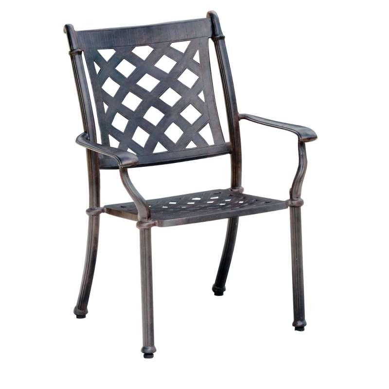 Inko Stapelstuhl Duke Alu-Guss bronze oder weiß 63x71x100 cm Gartenstuhl stapelbar