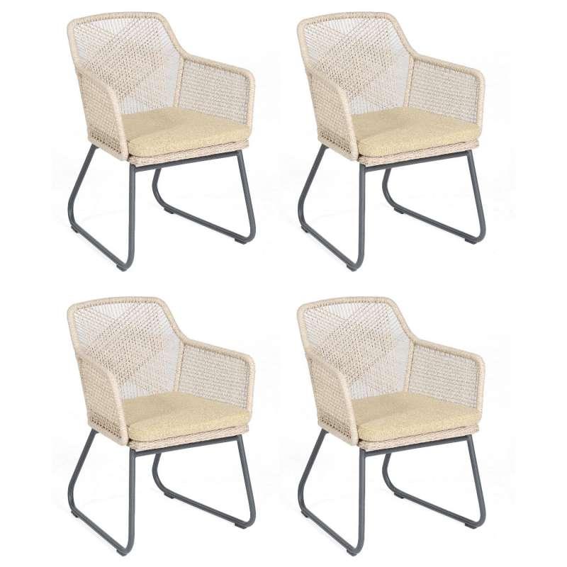 Sonnenpartner 4er-Set Garten-Sessel Couture Aluminium mit Polyrattan white-shell Gartenstuhl