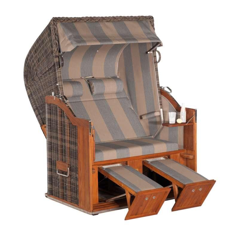Sonnenpartner Strandkorb Classic Teak 2-Sitzer Halbliegemodell cappuccino/grau mit 2 Nackenrollen