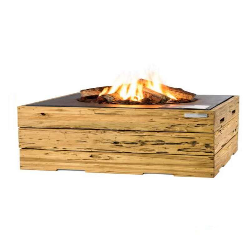 Happy Cocooning Mania Feuertisch 19,5 kW rechteckig 107x80x45 cm Teakholz Driftwood/schwarz