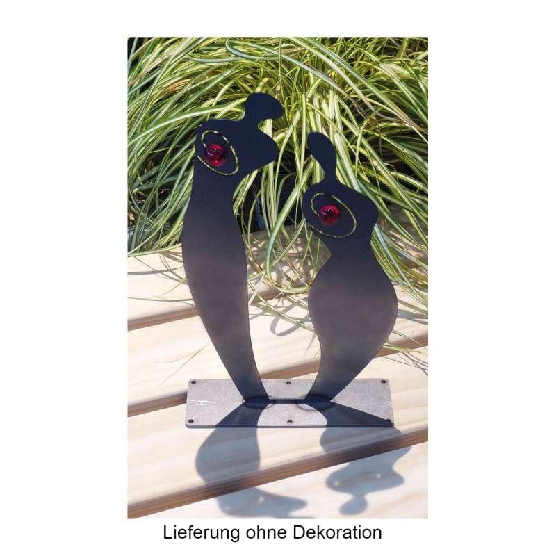 Mecondo SILAS S Skulptur Mann & Frau Cortenstahl/Glaseinsatz rot 27/30 cm Gartendekoration