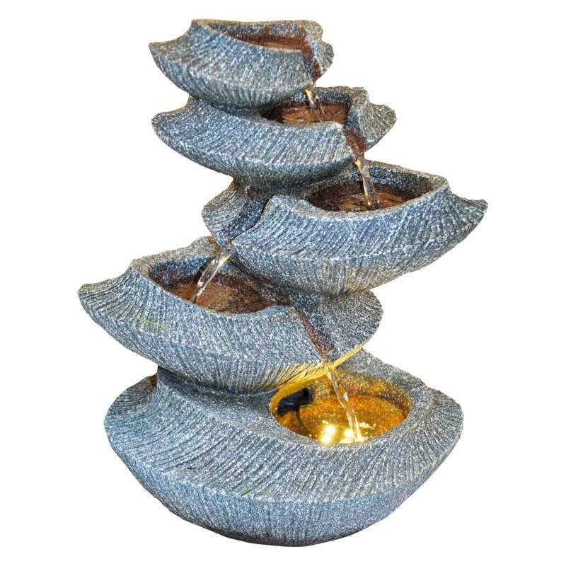 Granimex Yoga Polystone Feng Shui Raumbrunnen mit Pumpe und LED-Beleuchtung Wasserspiel 36x25x18 cm
