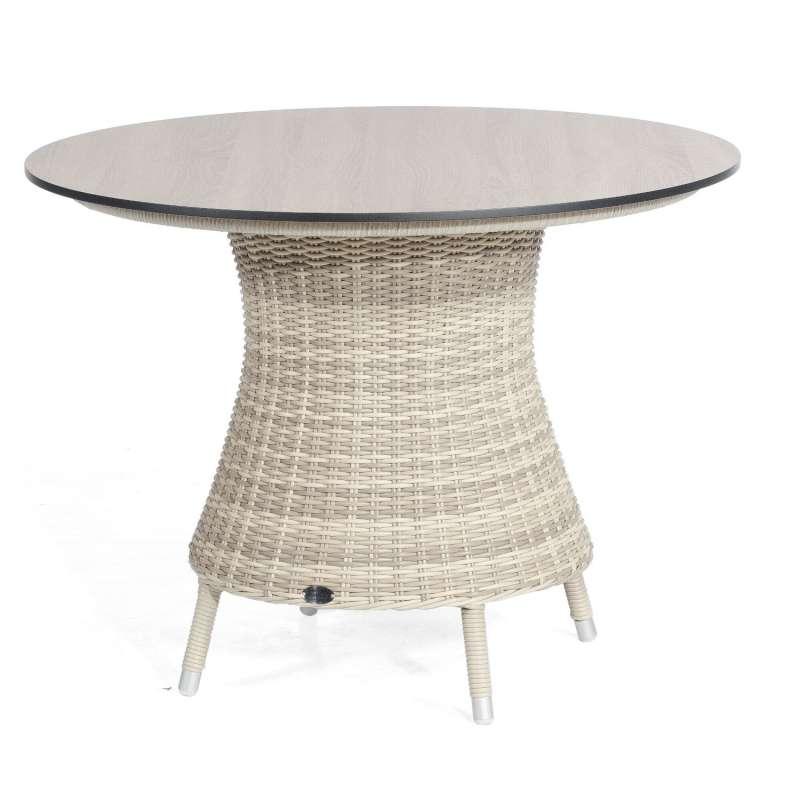 Sonnenpartner Gartentisch Base rund Ø 134 cm Aluminium mit Polyrattan white-coral Tischsystem mit wä