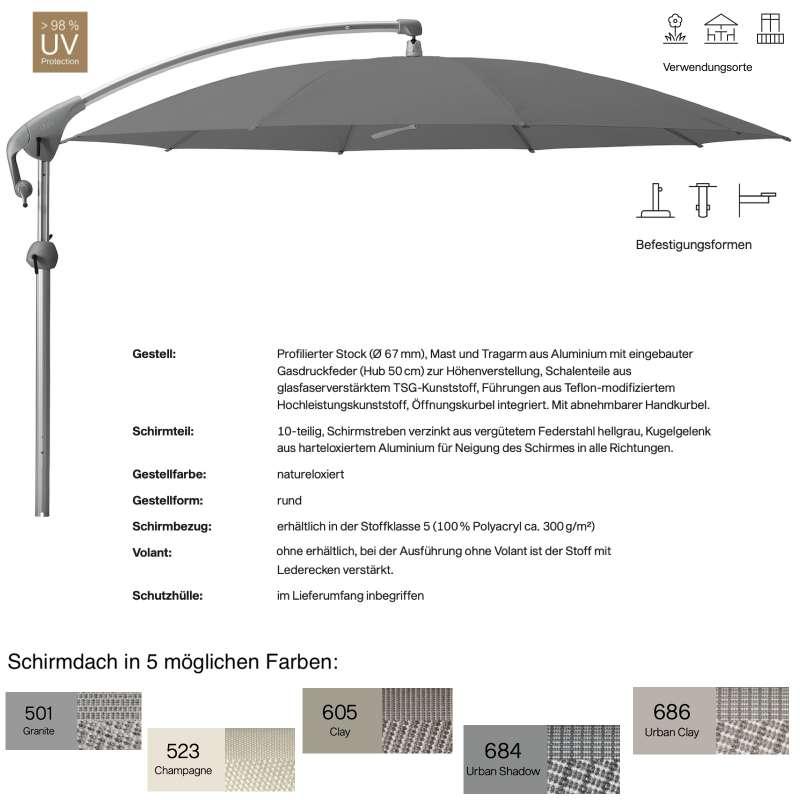 GLATZ Sonnenschirm PENDALEX® P+ rund ø 300 cm in 5 Farben Stoffklasse 5 Freiarmschirm