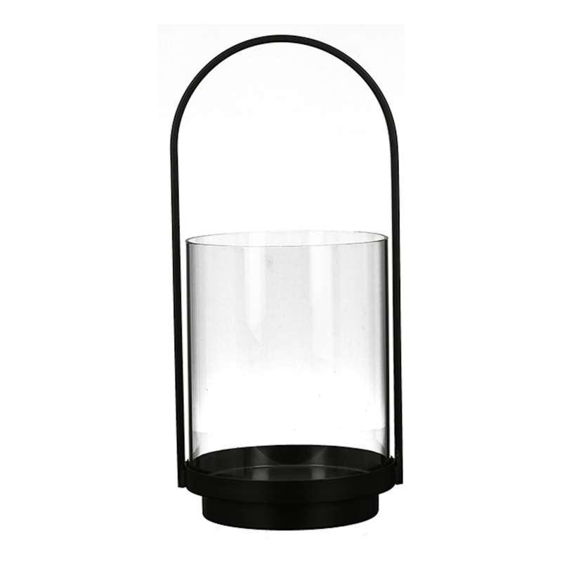 Casablanca Windlicht Lantern klein Metall schwarz Glas Ø 16,5 cm