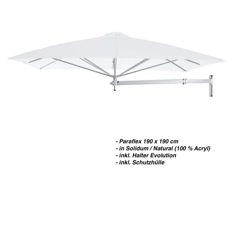 Umbrosa Paraflex 190 x 190 cm Sonnenschirm Solidum Natural SET Wandschirm inkl. Halterung