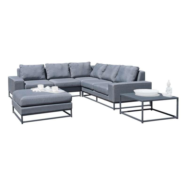 Sonnenpartner 5-teilige Lounge-Sitzgruppe Unique Aluminium mit Kissen flanell Loungesitzgruppe Sunbr