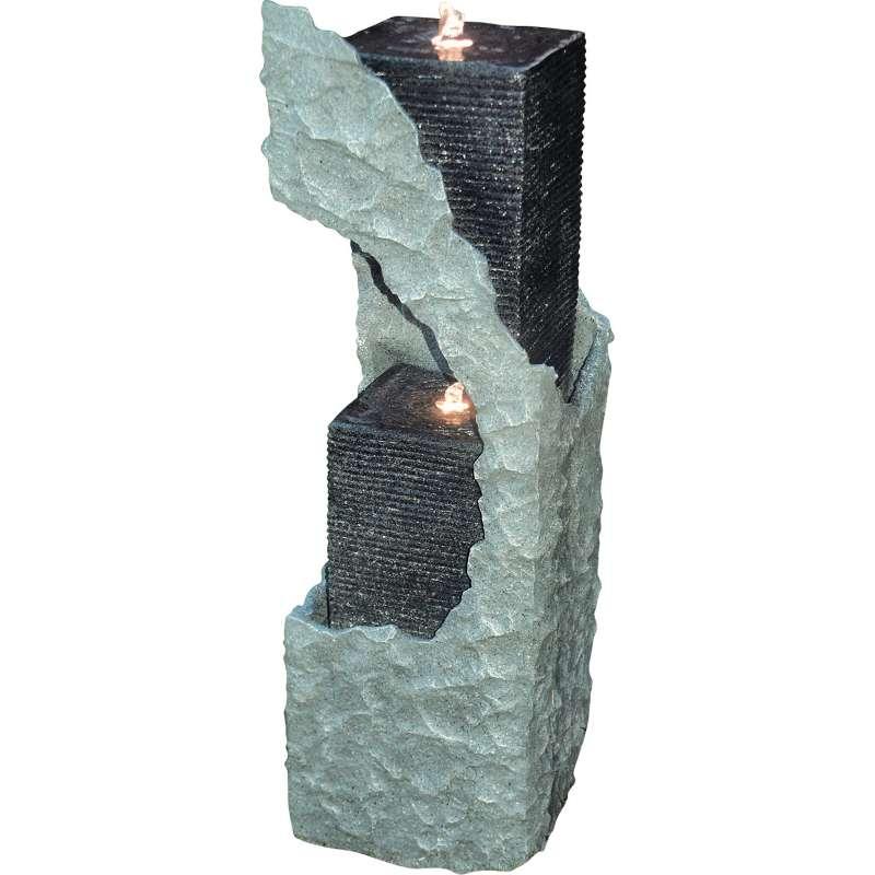 Granimex Lizu Polystone Wassersäule mit Pumpe und LED-Beleuchtung Wasserspiel 88x30x30 cm