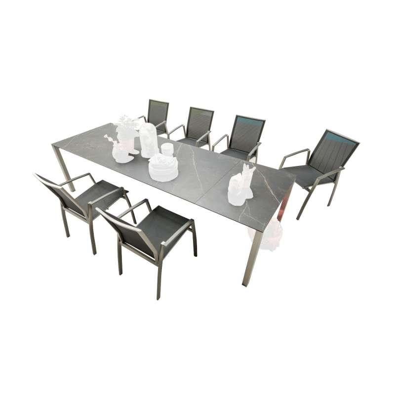 SIT Mobilia 7-teilige Sitzgruppe Etna Alpha & Argentina Edelstahl/Dekton/schwarz Tisch 210x95 cm mit