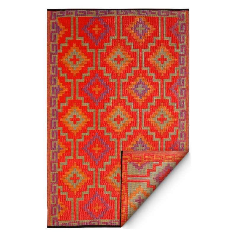 Fab Hab Outdoorteppich Lhasa Orange&Violet aus recyceltem Plastik orange/lila 90x150 cm