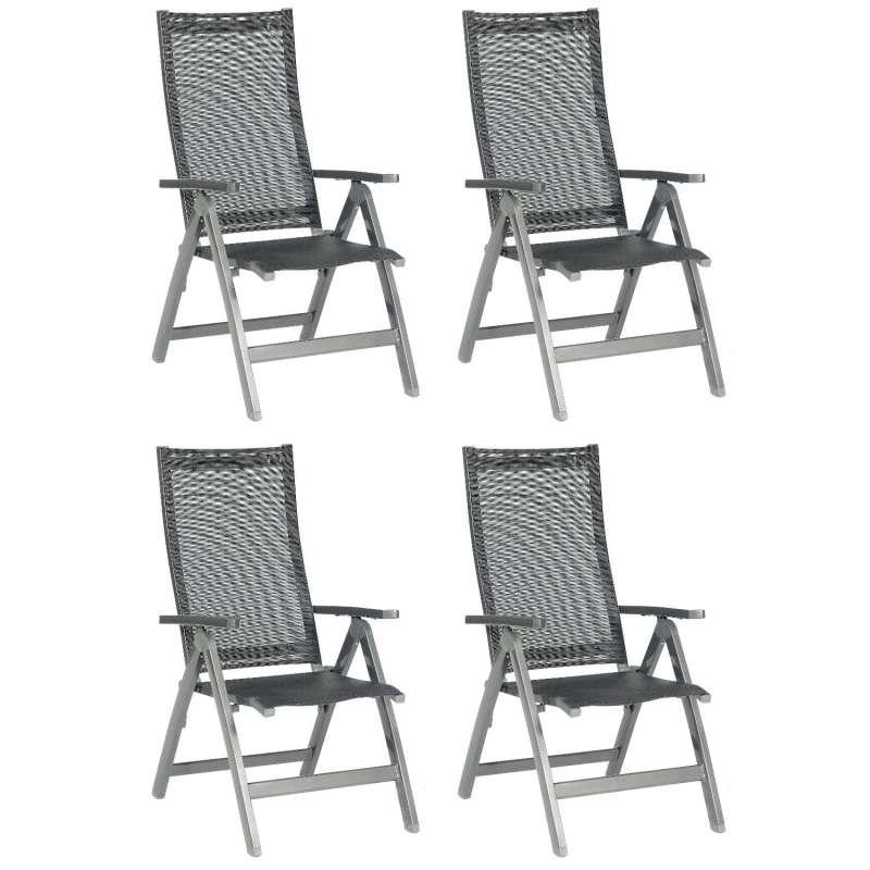 Sonnenpartner 4er-Set Klappsessel Fresno Aluminium mit Textilen anthrazit Klapp-Sessel Klappstuhl
