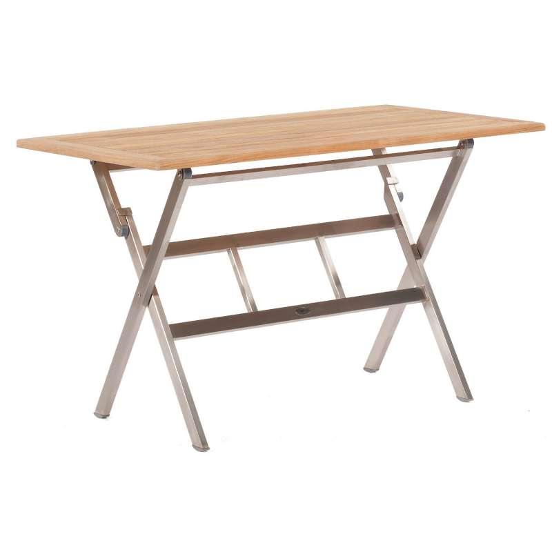 Sonnenpartner Klapptisch Base 120x70 cm Edelstahl Tischsystem mit wählbarer Tischplatte HPL Teak