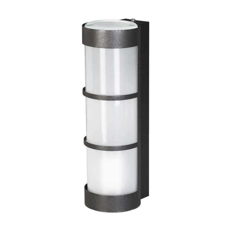 Heibi Wandleuchte Zierleisten Zylinderform Stahl graphitgrau/Opalglas 10x12,5x31,5 cm Außenleuchte