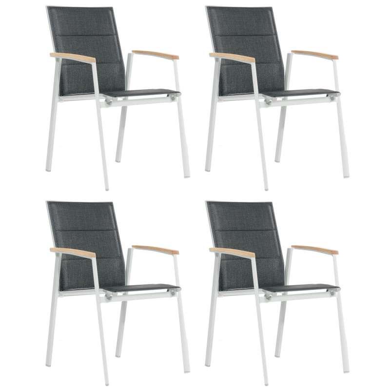 Sonnenpartner 4er-Set Stapelstühle Sierra Aluminium mit Textilen silber Stapel-Sessel Stapelstuhl