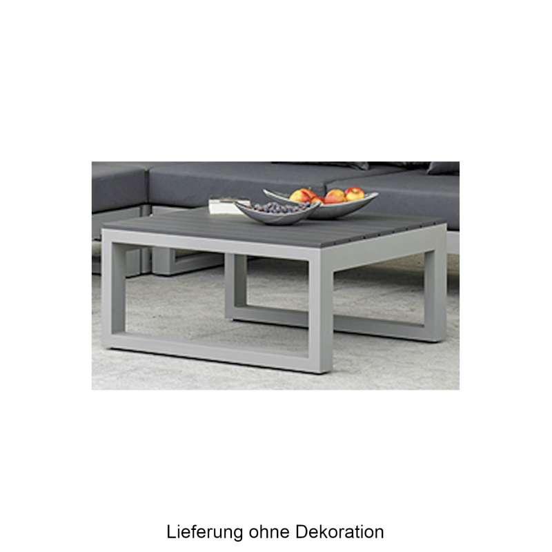Kaffeetisch Mallorca Loungetisch 85x85 cm Aluminium grau matt/Lava