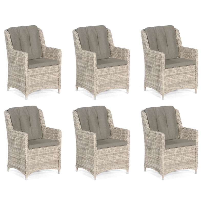 Sonnenpartner 6er-Set Garten-Sessel Avatar Aluminium mit Polyrattan white-coral Gartenstuhl Hochlehn