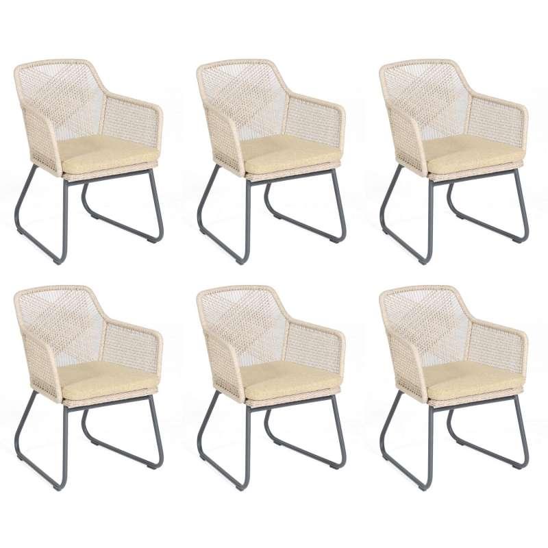 Sonnenpartner 6er-Set Garten-Sessel Couture Aluminium mit Polyrattan white-shell Gartenstuhl