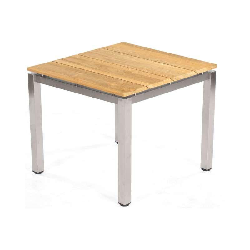 Sonnenpartner Gartentisch Base 90x90 cm Edelstahl Tischsystem mit wählbarer Tischplatte HPL Teak
