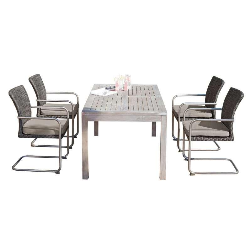 SunnySmart 5-teilige Sitzgruppe Scala & Wellington Aluminium Kunststoffgeflecht vintage-grau mit Tea