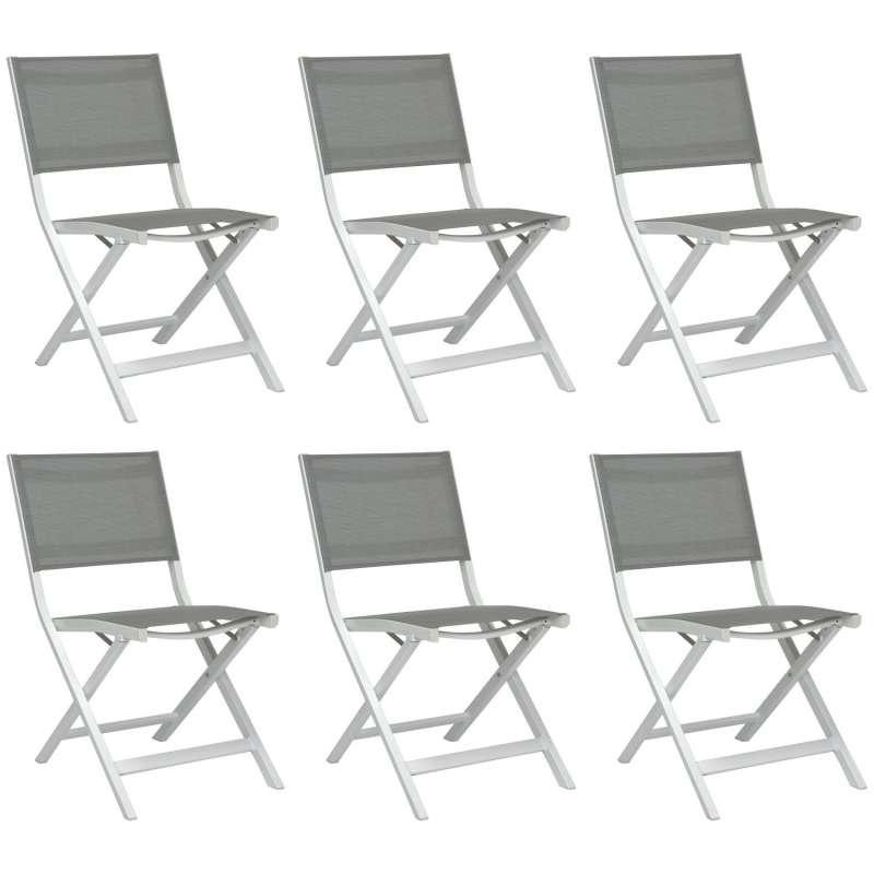 Stern 6er-Set Balkon-Klappstühle Nils Aluminium weiß/Textilen silber Balkonstuhl Klappstuhl