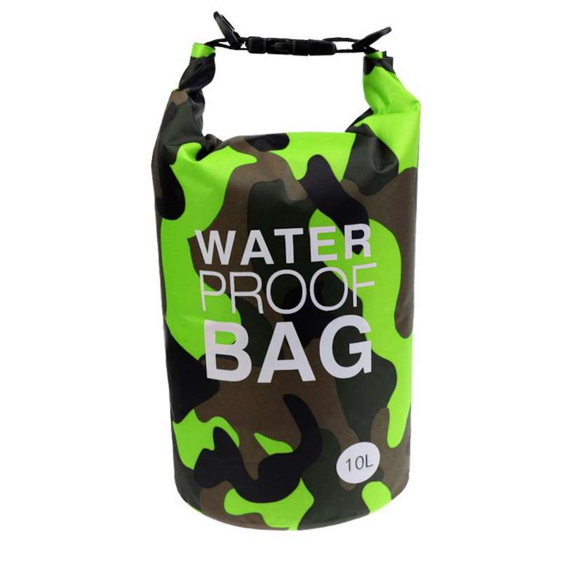 Drybag 10L Tasche 10 Liter wasserdicht Packsack Camouflage grün Water proof Softcase