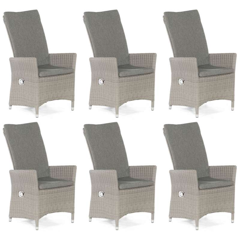 Sonnenpartner 6er-Set Garten-Sessel Solares Aluminium mit Polyrattan stone-grey Gartenstuhl Hochlehn