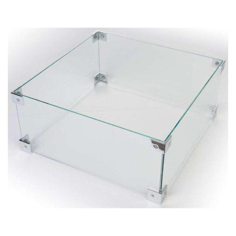 Happy Cocooning Glasschirm für Feuertische quadratisch/rechteckig 49x49x21 cm Glasumrandung