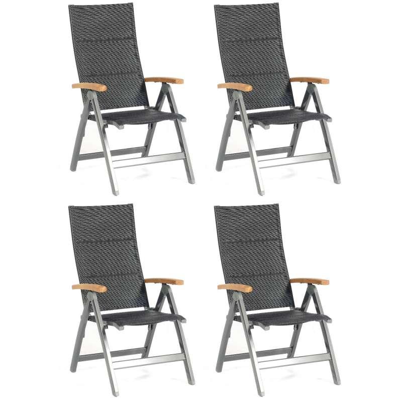 Sonnenpartner 4er-Set Klappsessel Sierra Aluminium mit Textilen anthrazit Klapp-Sessel Klappstuhl
