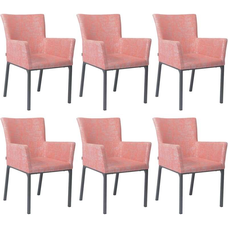 Stern 6er-Set Dining-Sessel Artus Aluminium anthrazit/ Outdoorstoff koralle seidengrau Loungesessel
