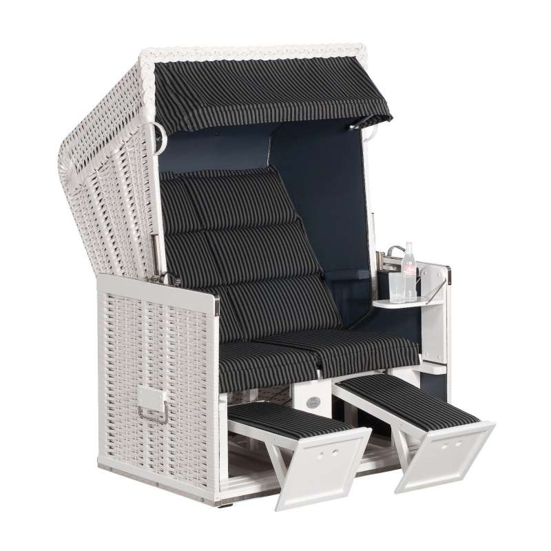 Sonnenpartner Strandkorb Konsul 2-Sitzer Halbliegemodell Duo-Style weiß/anthrazit