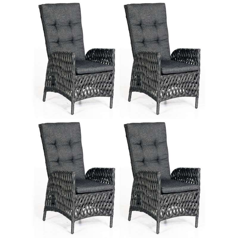 SunnySmart 4x Dining-Sessel Para-Basic Aluminium mit Polyrope metallic schwarz