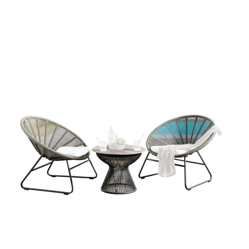 SIT Mobilia 3-teilige Lounge-Sitzgruppe Lagos & Arosa Aluminium/Geflecht grau Tisch Ø60 cm mit 2 Ses