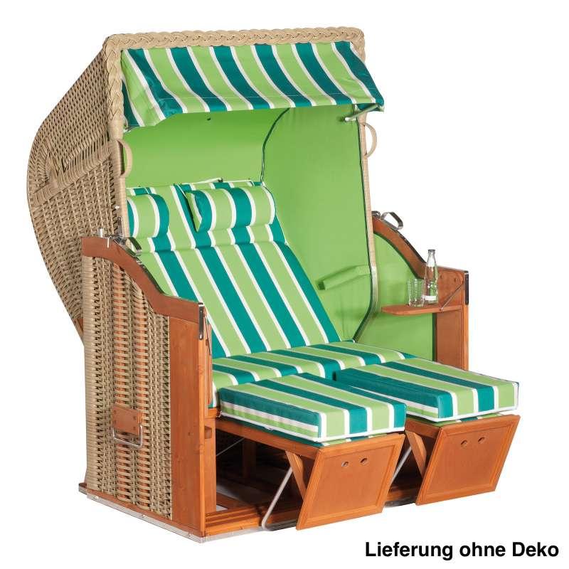 Sonnenpartner Strandkorb Classic 2-Sitzer Halbliegemodell seegras/grün mit Sonderausstattung