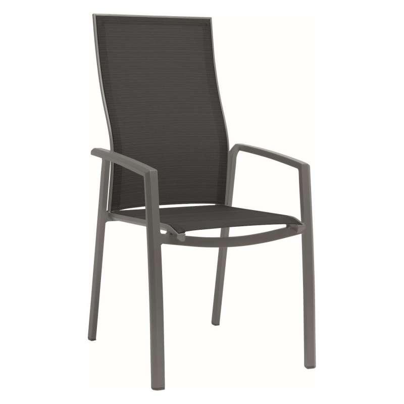 Stern Stapelsessel Kari Aluminium graphit/Textilen silbergrau extra hohe Rückenlehne Gartenstuhl Sta