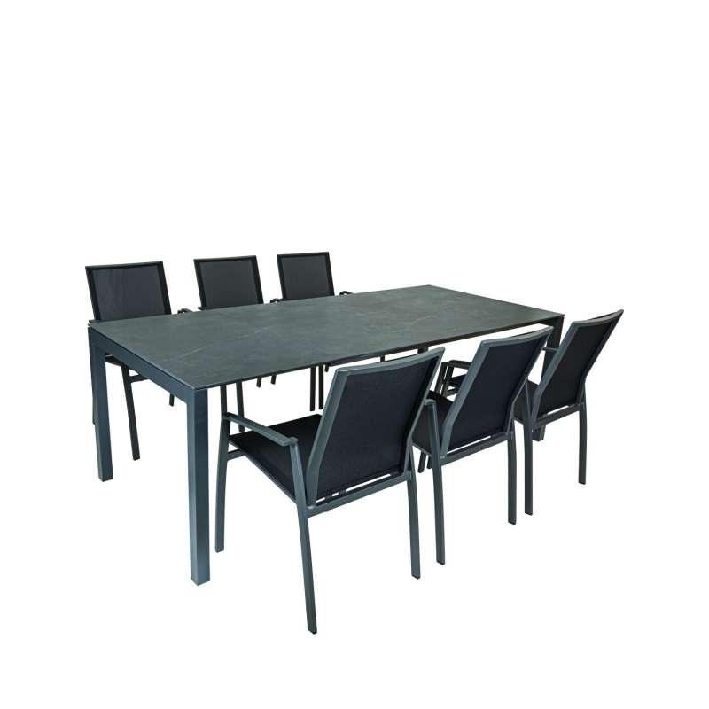 SIT Mobilia 7-teilige Sitzgruppe Etna Alpha & Argentina Aluminium eisengrau/Dekton/schwarz Tisch 160