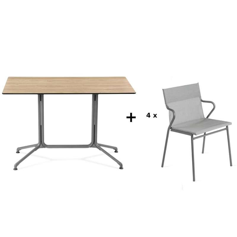Lafuma Horizon Tisch-Set Loungetisch 115x70x74,5 cm Bois Wood 4 Stühle Pearl