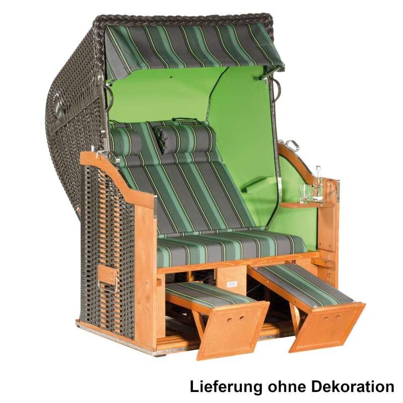 Sonnenpartner Strandkorb Classic 2-Sitzer Halbliegemodell anthrazit/grün mit 2 Nackenrollen