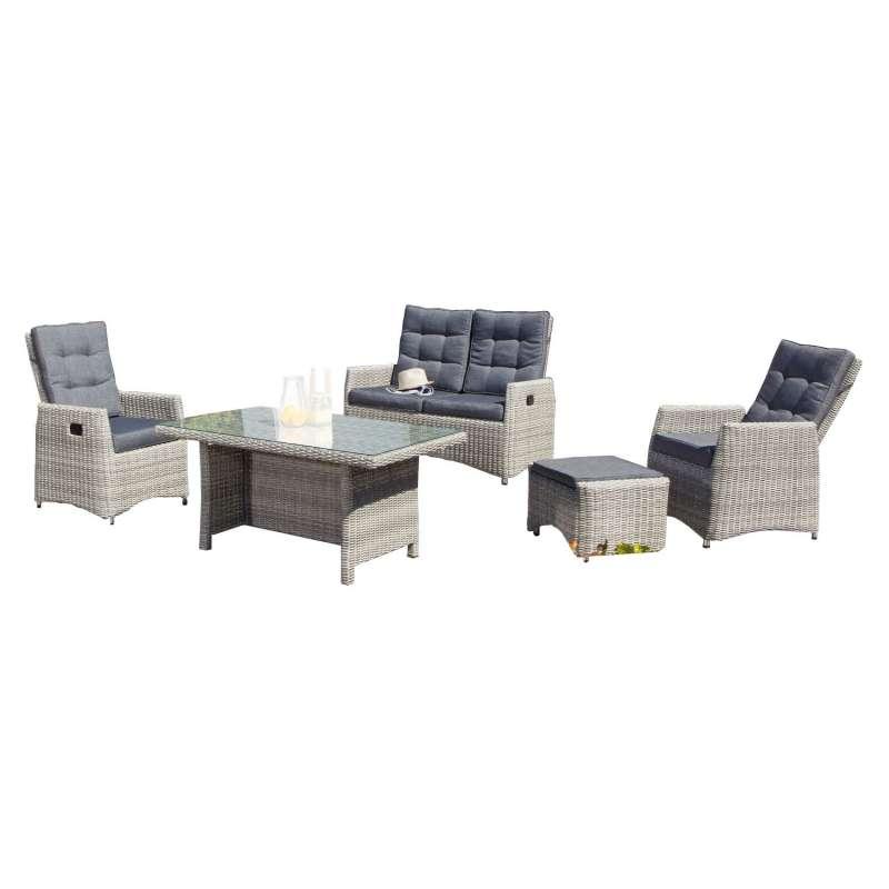 SunnySmart 5-teilige Loungegruppe Roseville Aluminium mit Kunststoffgeflecht grey-white