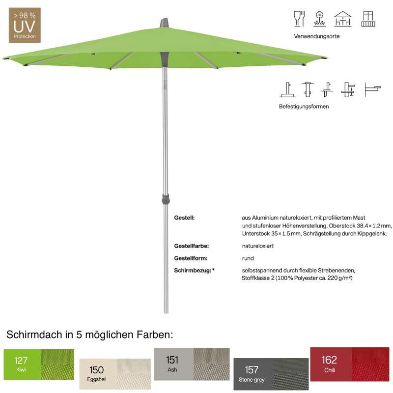 GLATZ Sonnenschirm ALU-SMART easy rund ø 250 cm in 5 Farben Stoffklasse 2 Mittelstock