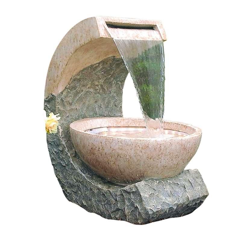 Granimex Cuvette Polystone Wasserfall mit Pumpe und LED-Band Wasserspiel 61x50x42 cm